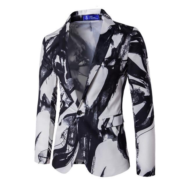 Los Hombres de lujo 2017 de La Marca de Moda Traje de Los Hombres Ocasionales de Un Botón Traje Chaqueta de Impresión de Tinta Men Dress Business Casual Blazer Masculino