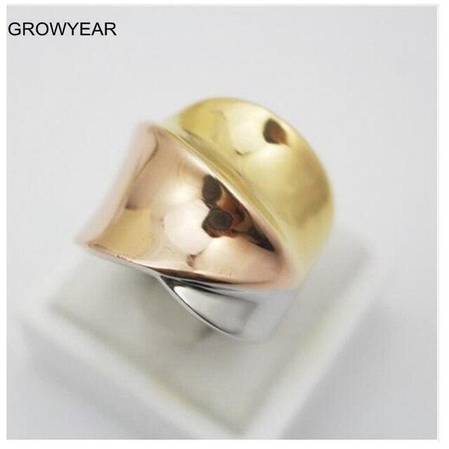 2313f8ddeecb Rosa de oro de plata de oro de 3 colores de banda de acero inoxidable anillo
