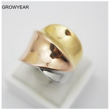 Rose Golden Silver Golden Plated 3 Colors Cocktail Stainless Steel Band Ring Women Fashion Jewelry Size