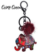 Cring Coco Lovely Elephant Key Chain Accessories Charm Car Bag Pendants Enamel Alloy Keychain Jewelry for Women Men Keyrings
