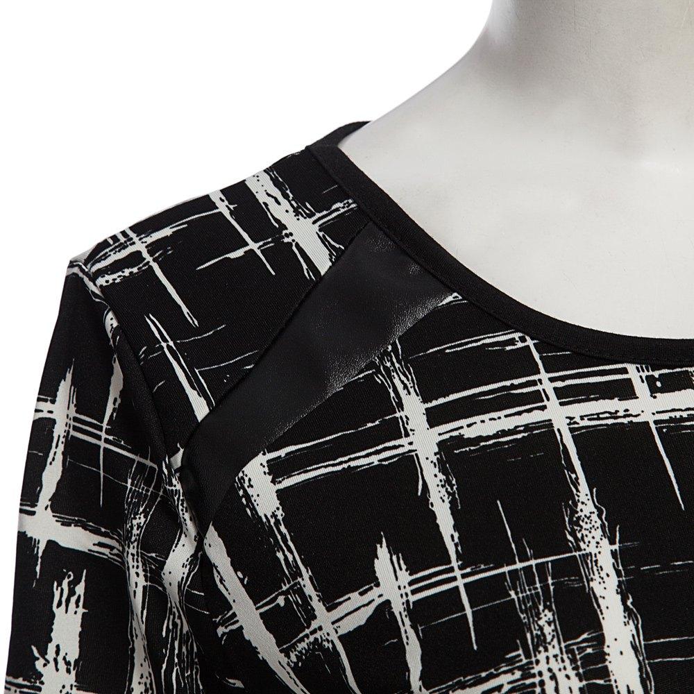 VESTLINDA Summer Office Pencil Midi Dress Short Sleeve Print Bodycon Dress Women Tunic Elegant Vestidos Sheath Ladies Dresses 4