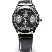 Winner Black Army Automatic Winding Mechanical Date Day Display Leather Strap Analog Relogio Wrist Watch Men