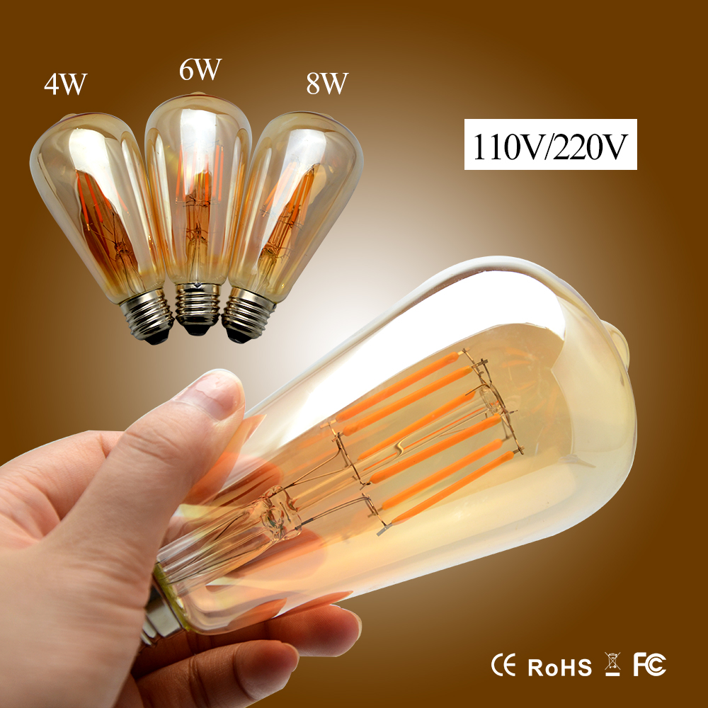 E27 Vintage LED Edison Filament Light 110V  220V Led Bulb Lamp ST64  4W 6W 8W Energy Saving Lamp Replace Incandescent Bulb Light бинокль nikon aculon t01 8x21 синий