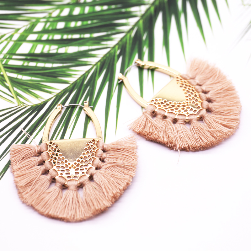 Coco&Willow Colored Bohemia Tassel Hoop Earrings for women, handmade tassels Earrings, Ethnic Earring for whosesale pair of delicate shell decorated hoop earrings for women