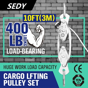 SEDY 180kg Winch Stainless Steel Cargo Lifting Pulley Set Labor Saving Winch Double 4 Groove Pulley Labor-saving Lifting Tool bosi tool 7 labor saving combination plier with double color tpr handle