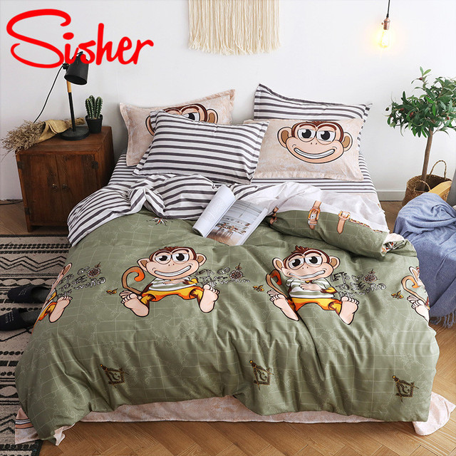 Sisher Simple Bedclothes Bedding Set With Pillowcase Pillow Case Duvet Cover Sets Bed Linen Single Double Full King Size Covers 1