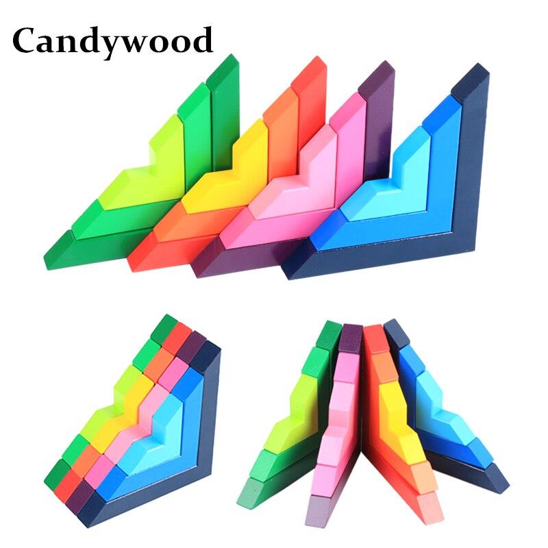 Candywood Hêtre de Haute Qualité En Bois Coloré blocs Enfants Éducatifs apprentissage Directement Angle Blocs de Construction pour enfants jouets nouveau