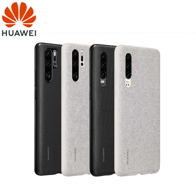 Huawei P30 Case From Huawei Official Original Leather Protecive Cover Carbon / Canvas Fiber Business Style Huawei P30 Pro case