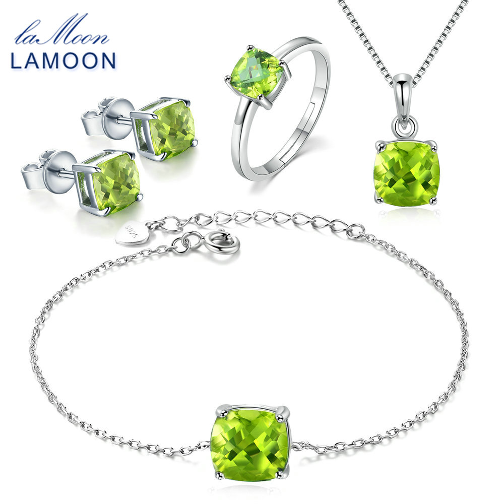 LAMOON Real 100% S925 Sterling Silver Natural Gems Green Peridot Jewelry Sets for Women Fine Jewelry Wedding Accessories V018-1