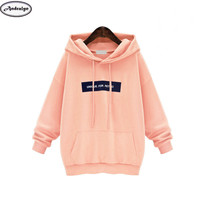 Autumn Winter Women Fashion Letter Print Hooded Hoodie Casual Tops Pullovers Loose Hoodies Sweatshirts Coat Plus size 6XL
