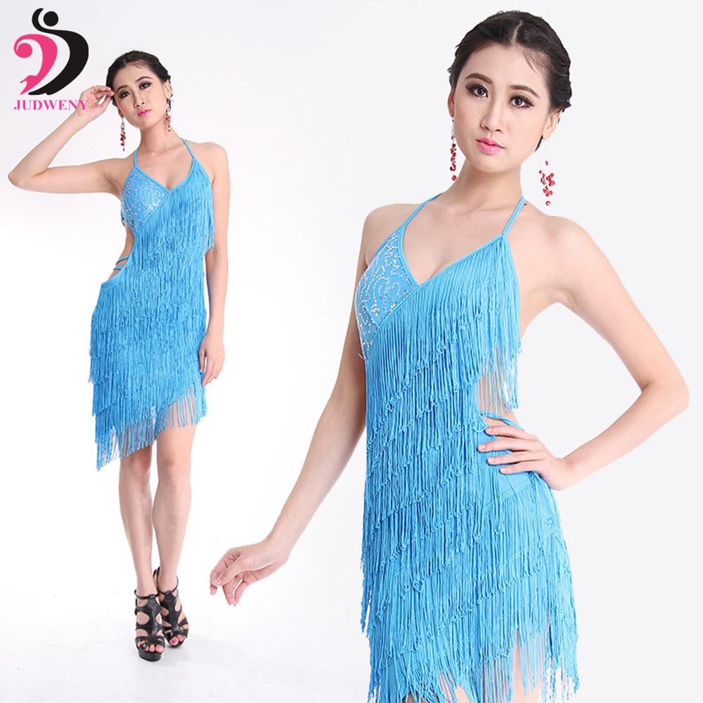 Latino danza vestido mujeres competencia borlas falda Womens Latino Falda  de baile cha danza vestido 5 colores sexy Latino danza traje 8446c2c4288