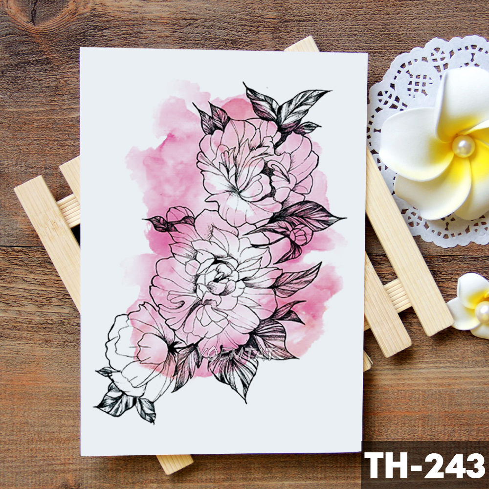 Sketch Flower Blossom Peony Rose Waterproof Temporary Tattoo Sticker Black Tattoos Body Art Arm Hand Girl Women Fake Tatoo 1