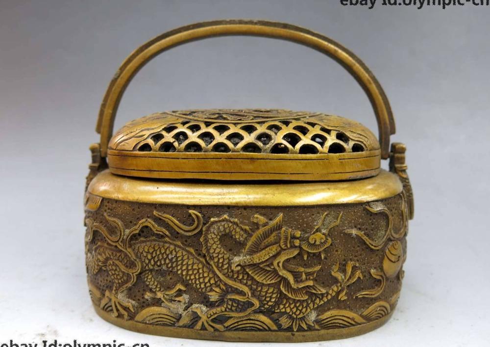 Encensoir brûleur d'encens Statue | En laiton et en cuivre de chine, belle perle deux dragon de jeu