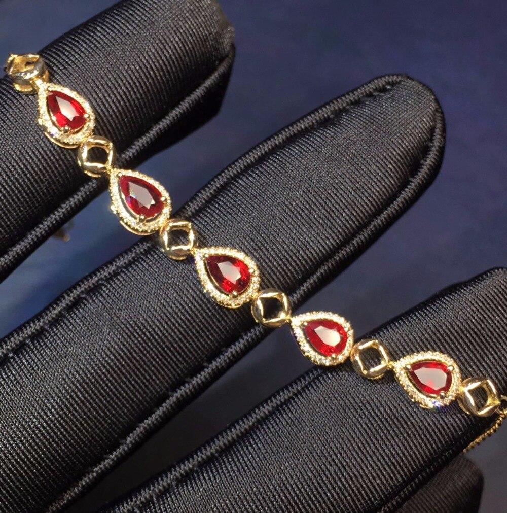 Bijoux en or jaune véritable 18 K AU750 G18K 100% rubis rouge naturel pierres précieuses amour bijoux bracelets pour femme Bracelet fin