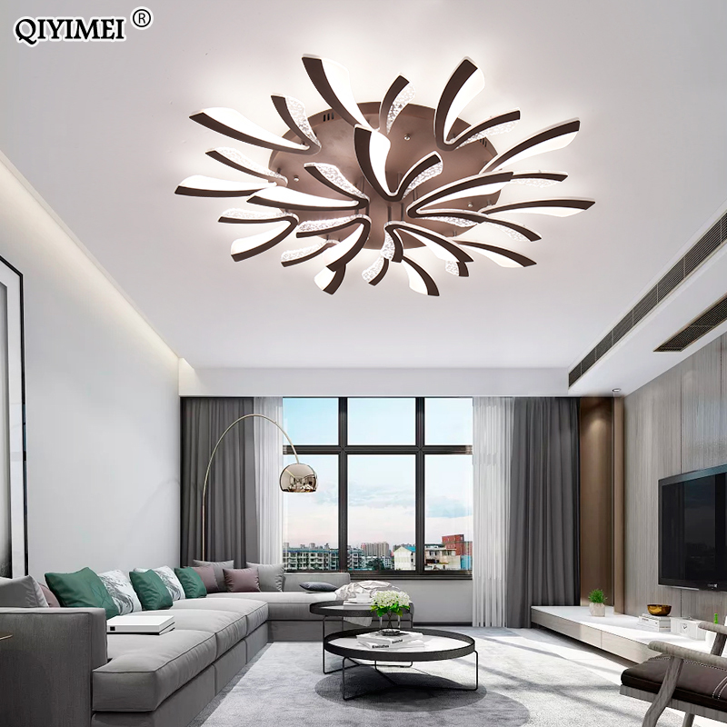 Image 3 - Modern LED ceiling chandelier lights for living room bedroom Dining Study Room White Black Body AC90 260V Chandeliers Fixtures-in Chandeliers from Lights & Lighting