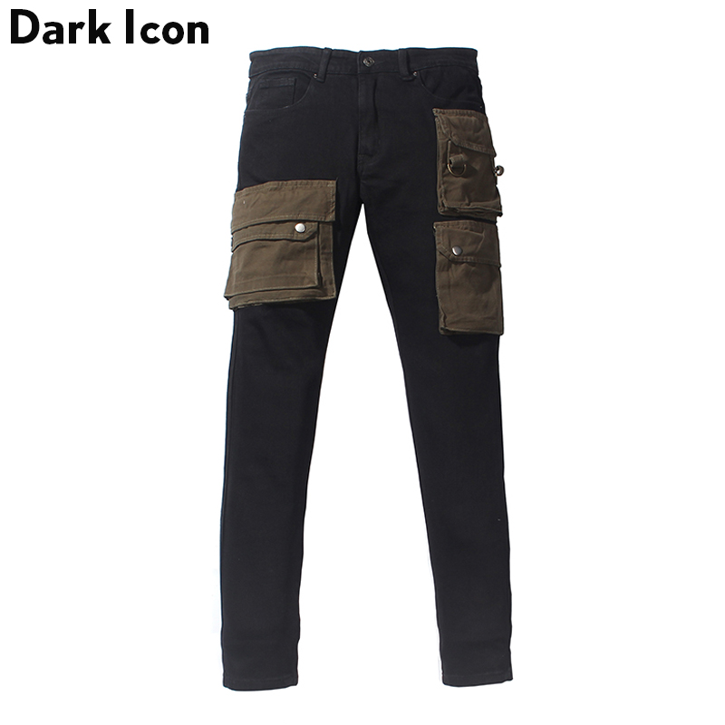Dark Icon Layer Pockets High Street Jeans Men Cargo Denim Pants Streetwear Men's Pants