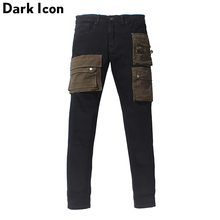 Dark Icon Layer Pockets High Street Jeans Men Cargo Denim Pants Streetwear Mens