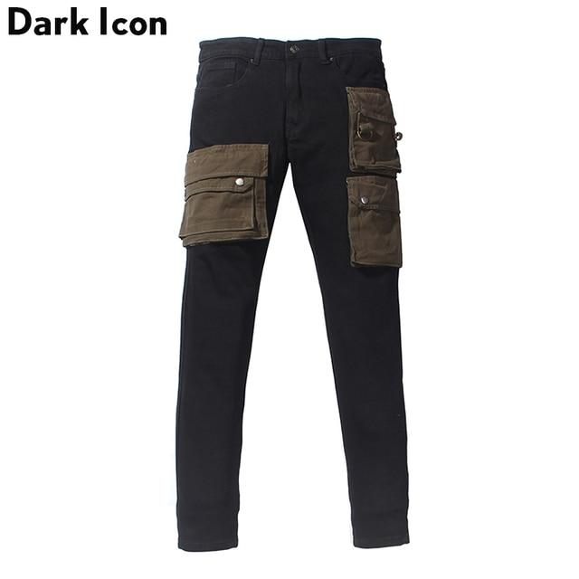 Scuro Icona Strato Tasche High Street Jeans Carico Degli Uomini Del Denim Dei Pantaloni Pantaloni da Uomo Streetwear