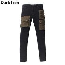 כהה סמל שכבה כיסים גבוהה רחוב ג ינס גברים מטען ינס מכנסיים Streetwear גברים של מכנסיים