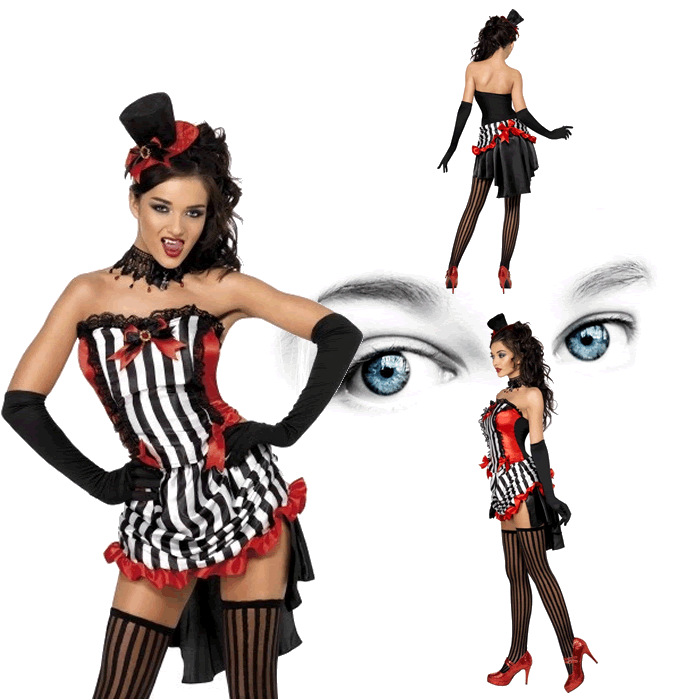 striped tube tuxedo dress scary vampire costume sexy adult cosplay exotic apparel halloween costume for women 0301213 in anime costumes from novelty - Scary Vampire Halloween Costumes