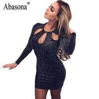 Abasona Spring Women Sparkle Dress Evening Party Club Wear Sexy Cut Out Dresses Vintage Women Long