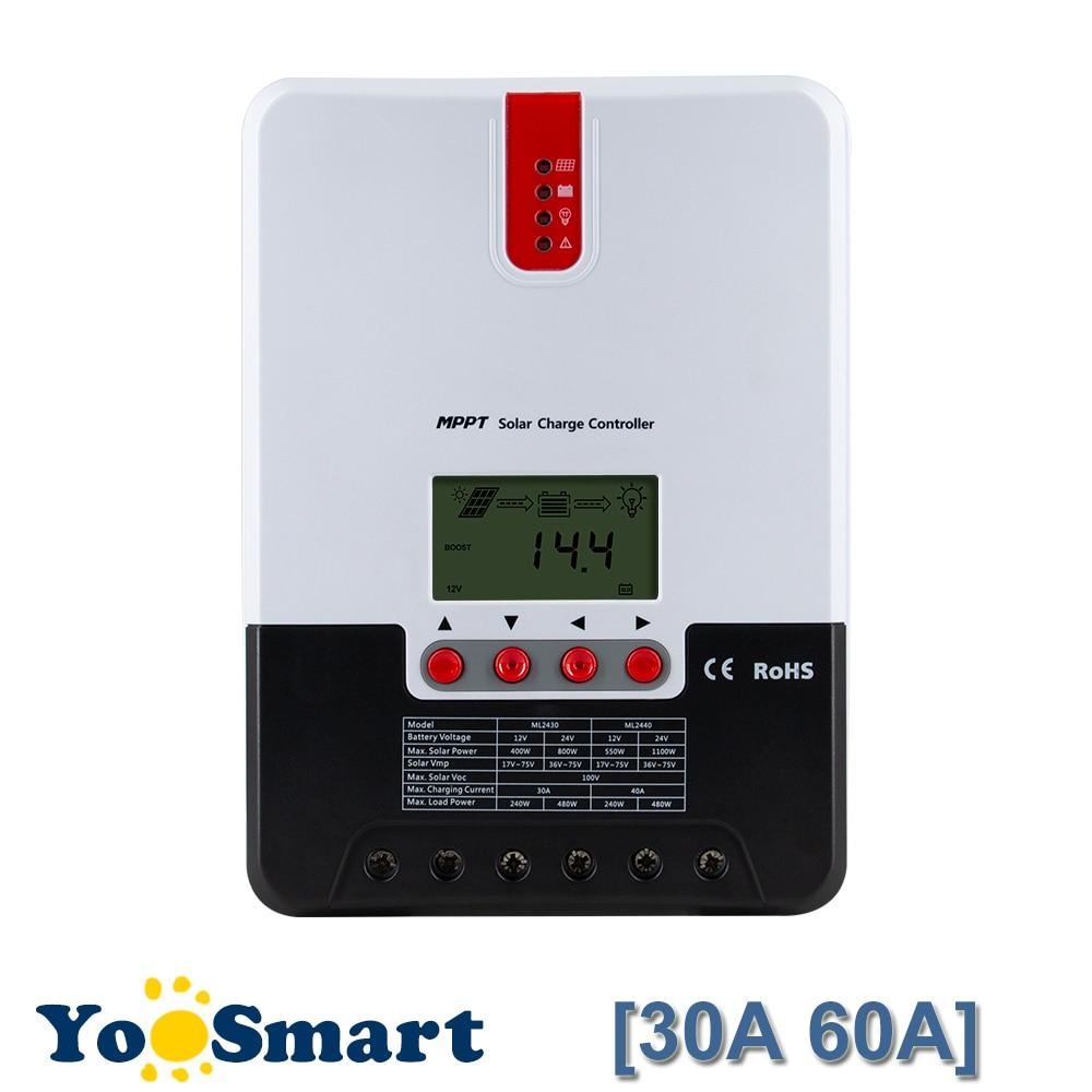 MPPT 30A 60A Solar Charge Controller 12 24 36 48V Regulator Max 150V DC Input For