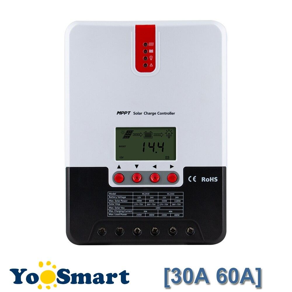 12 30A 60A MPPT Controlador de Carga Solar/24/36/48 V Regulador Max 150 V de Entrada DC para o Chumbo-ácido de Bateria De Lítio-ion LCD Back Light