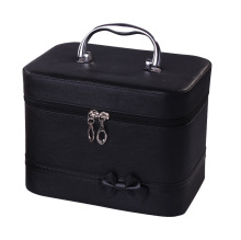 Women PU leather makeup box large capacity hand makeup box