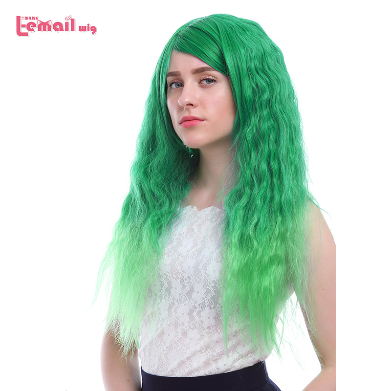 L-email Wig 70cm/27.5inches Long Women Wigs Gradient Colors Curly High Temperature Fiber Synthetic Hair Perucas Cosplay Wig
