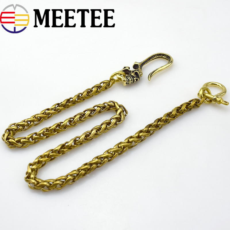 1Pc Solid Brass Trousers Jeans Wallet Chain Keychain Metal Buckle Clips Snap Hook DIY Sewing Accessories KY2204