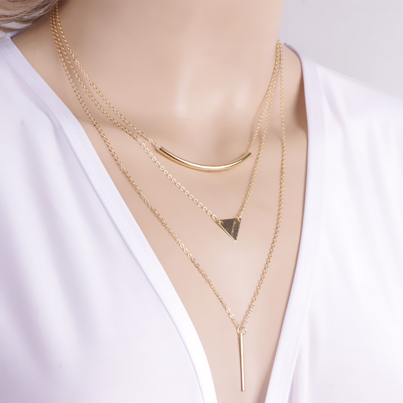 New Fashion Multi layer Geometric Designed Gold Silver Bar Stick Triangle Chain Choker Necklace Pendant  2L3013