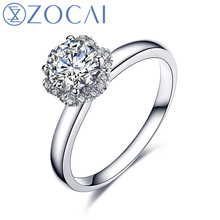 ZOCAI Bridal Bouquet Natural Real 0.35 CT Certified I-J/SI Round Cut Diamond Engagement Women Ring 18K White Gold (AU750) W04490