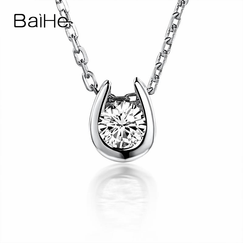 BAIHE Solid 18K White Gold(AU750) SI/H 0.10ct Round Cut 100% Real Diamonds Women Fine Jewelry Gift Necklace Pendant 18k 750 white gold moissanite pendant round cut lab grown moissanite diamond chain pendant necklace for women in fine jewelry