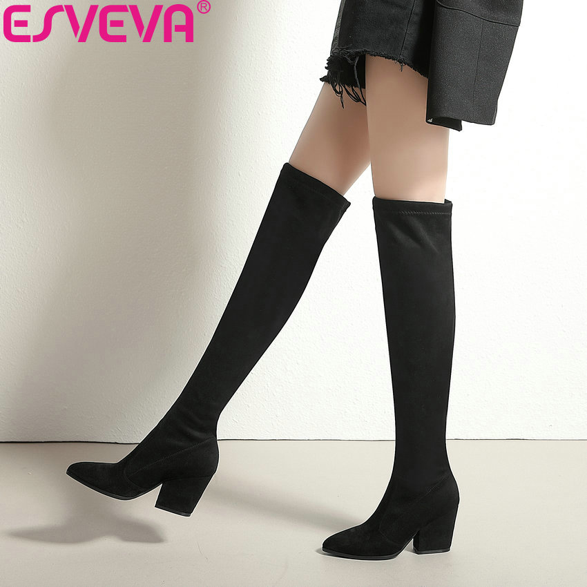 ESVEVA 2019 Women Boots Spring Autumn Over The Knee Boots Stretch Fabrics Sexy Pointed Toe Fashion High Heels Shoes Size 34-43 esveva 2019 women boots square heels stretch fabric over the knee boots spring autumn shoes round toe woman boots size 34 42