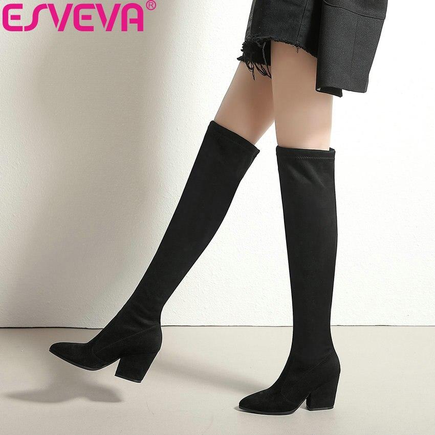 ESVEVA 2019 mujeres botas de Otoño de primavera por encima de la rodilla botas tejidos elásticos Sexy Punta de moda Zapatos de tacón alto zapatos de tamaño 34-43