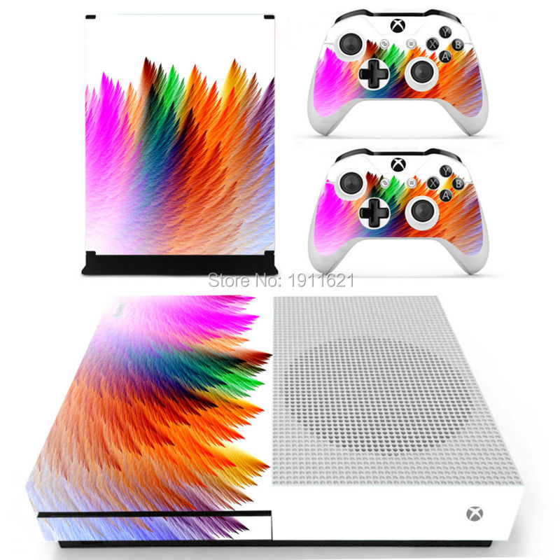 Cool Colourful Vinyl Skin Sticker For Xbox One Slim Decal For Microsoft Xbox One S Console+2 Pcs Cover Skin of Controllers