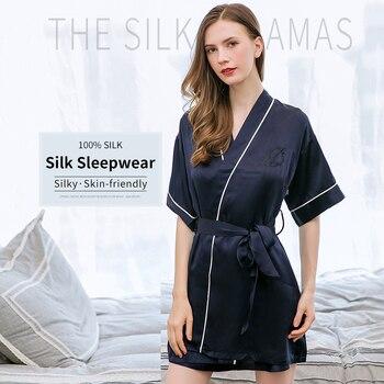 Women 100% Real Silk Robes 2019 Bedgown Nightgown for Ladies Pajams High Quality Girls Sleepwear 16m/m Pure Silk Sleepshirts Set