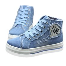 Spring New High Help Canvas Shoes Female High Hole Denim Zipper Elevator Women's Casual Shoes Canvas Shoe zapatillas lona mujer