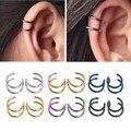 Титан 2 кольца уха застежки-запонки на спирали штанги для хряща уха без пирсинг украшения для тела - фото