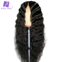 Luffy Preplucked Deep Wave Brazilian Full Lace Wigs Human Hair With Baby Hair Non Remy Bleached Knots Natural Color 130 Density