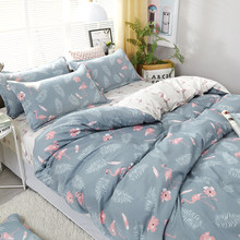 Flower Birds Leaves Pattern Bedding Set 3/4pcs High Quality Duvet Cover Flat Sheet Bed Linings With Pillowcase Home Textile(China)