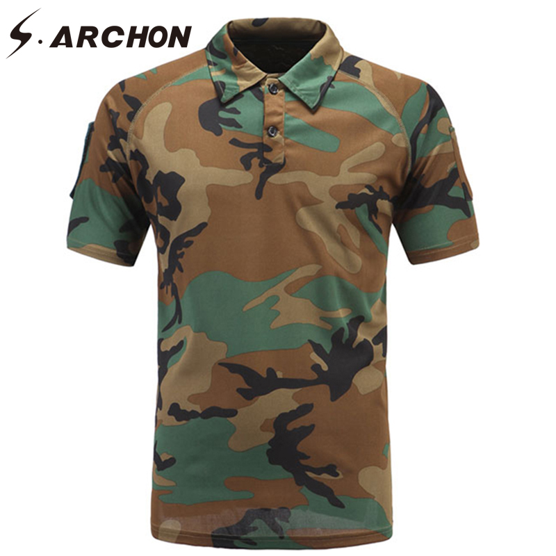 S.ARCHON Military Camouflage Short Sleeve   Polo   Men Shirt Summer Tactical Quick Dry   Polo   Shirt Casual Army Combat Breathable   Polo