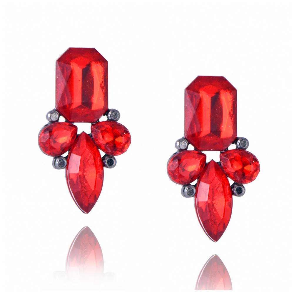 E0225 Hot Sale Red Crystal Stud Earrings For Women Fashion Party Wedding Jewelry Vintage Royal Blue Stud Earrings Bijoux Femme