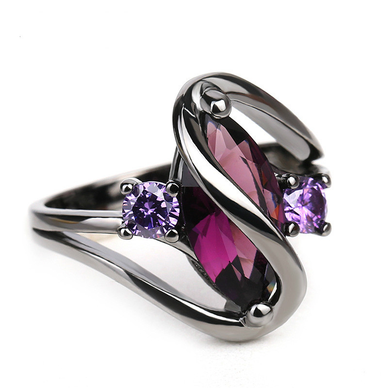Black Color Rings for Women Snake Shape Purple Cubic Zircon Rings Punk Style Unique Jewelry Size 4-10 Wholesale