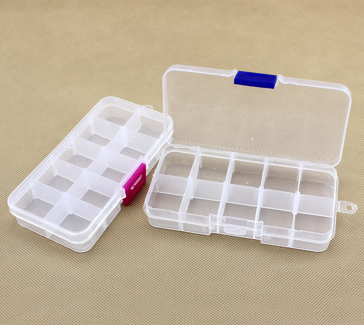 Cheap wholesale 10 cells plastic slots adjustable jewelry for Craft storage boxes plastic