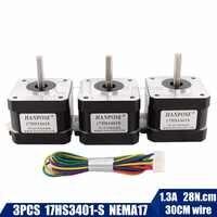 Free shipping 3pcs 17HS3401S Quality 4-lead Nema17 Stepper Motor 42 motor 42BYGH 1.3A CE ROSH ISO CNC for 3D printer