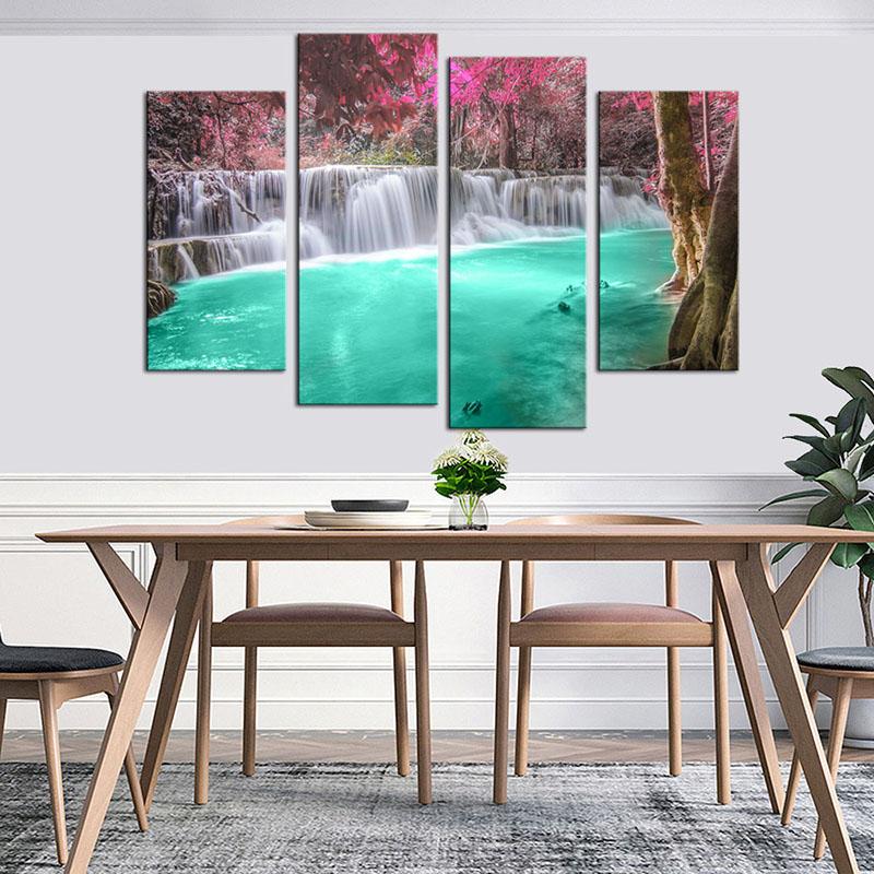 Paysage cascade toile Art mural impression peinture 4 panneaux moderne Rose arbre vert eau HD image pour cuisine chambre décor à la maison
