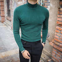 MRMT 2019 Brand Men's Sweater Pure Color Knitting Pullover for Male Long Sleeves Semi-high Neck Casual In The Collar Sweater