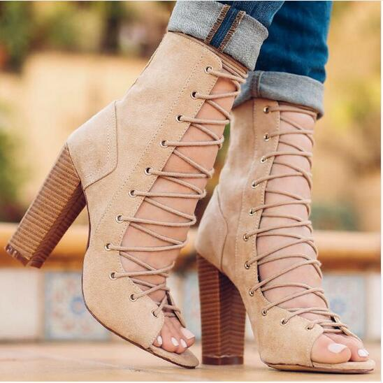 New Brand Design Fashion Women Suede Lace Up High Heel Boots Thick Square Heel Open Toe Lace Up Strappy Ankle Motorcycle Boots fashion square toe lace up genuine leather solid nude women ankle boots thick heel brand women shoes causal motorcycles boot l74