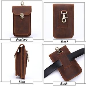 Image 3 - MISFITS 2019 NEW Genuine Leather Vintage Waist Packs Men Travel Fanny Pack Belt Loops Hip Bum Bag Waist Bag Mobile Phone Pouch